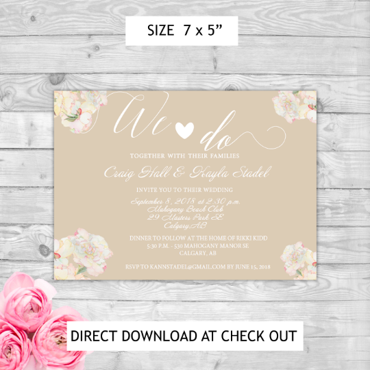 Instant Download Editable Pdf Print Yourself Simple Floral Brown